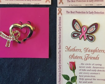 Breast Cancer Support PINS, 4 to Choose From, For Mothers Daughters Sisters Friends Card with Pin Pink Ribbon Gift Pins Jewelry