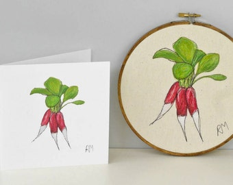 Radishes Embroidered in Hoop with Card