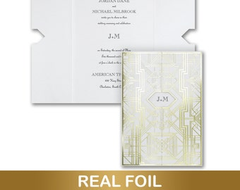 Art Deco Wedding Invitations, Featuring Gold Metallic Foil On White Shimmer Cards, Inner And Outer White Shimmer Envelopes Included