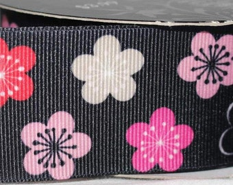 "Pink and Black Flower  1.5"" Collar with Side Release Buckle (Martingale Option Available)"