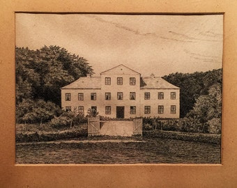 Creepy Antique Etching of an Abandoned Southern Mansion - 1891 - Mystery Artist - Monogram - Kubrick - The Shining
