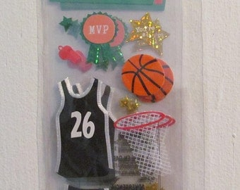 A Touch of Jolee's Demensional Stickers Basketball MVP Sports Net Star 3 Sheets