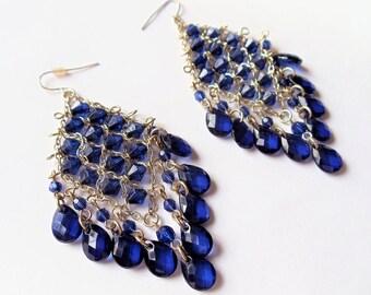 Royal blue chandelier earring | Etsy:Vintage Chandelier Blue Crystal Earrings, Royal Blue Crystals Silver Tone  Metal Wire Huge Earrings, Dangle Pierced Blue Earrings, Gift Idea,Lighting