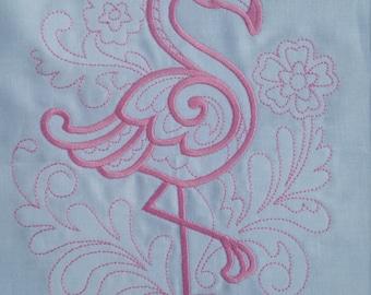Doodle Flamingo machine embroidered quilt block