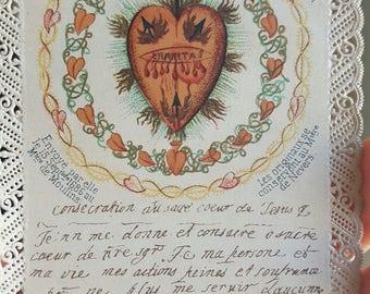 Vintage French Sacred Heart Prayer Card Holy Card Catholic Art Religious Art Catholic Gift Religious Gift
