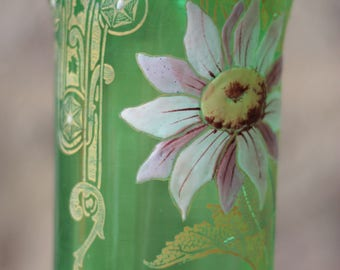 Art Nouveau Legras Green Glass Vase, Art Nouveau Vase, Floral Glass Vase
