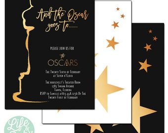 Oscar Party Invitation | And the Oscar Goes To | Oscars Invitation | Academy Awards Invitation | The Oscars - 5x7 with reverse side
