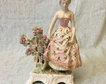 Vintage Italian Porcelain Victorian Lady with Attached Rose Arbor Vase