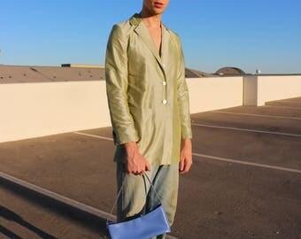 PHILIPPE ADEC Iridescent Melon Green Silk Blazer Size 4