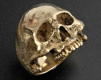 Gold Skull Ring,Large Size,14K Solid Gold Skull Ring,Half Jaw
