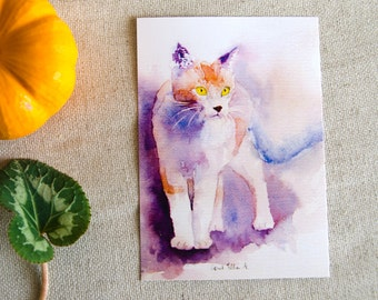 White and reddish cat postcard, print postcard - standing cat postcard - cat stationery - kitty card