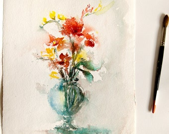 "Original painting of flowers, Original watercolor of a vase of flowers, floral art, red and yellow flowers - 11"" x 15"""