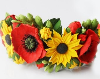 Flower head wreath, flower crown, headpiece. Sunflowers and poppies