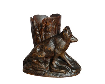 Antique Black Forest Carved Wood Match Stand - Fox Figure- Figural Match Holder - Carved Wooden Spill Vase