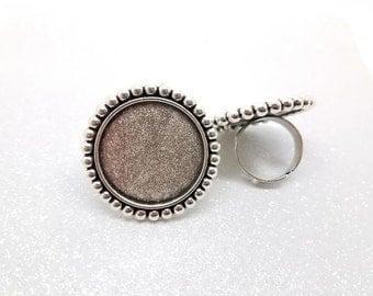 25mm Antique Silver Beaded Bezel Adjustable Ring Blanks - 3 Pcs