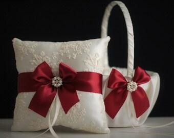 Burgundy Bearer Pillow \ Ivory Flower Girl Basket \ Maroon Wedding Pillow, Burgundy Wedding Basket Pillow Set, Ivory Lace Bearer, Red Basket