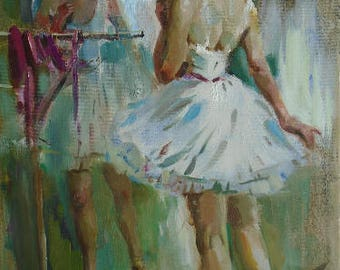 Original Oil Painting Portrait Ballerina by Ustyanskaya V., Signed, Dancer Female Portrait, Genre Painting, Oil Handmade Art, Dancer Figure