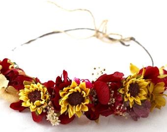 Sunflower,red,burgudy,wine,marsala,flower,hydrangea,crown,halo,wreath,tiara, preserved, dried,flower,daisy,boho
