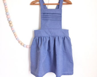 Pinafore dress for baby, toddler, girls, Girls overalls dress, Choice of fabrics, Vintage inspired first birthday dress for girls, UK seller