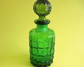 Vintage Green Empoli Glass Wine Decanter Bottle Textured Italy