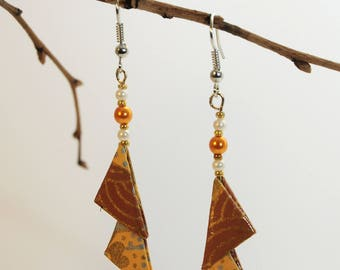 """Triangles Sandy Desert"" origami earrings"