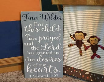For This Child We Have Prayed Gray Nursery Sign Kids Bible