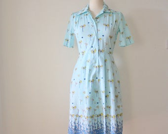 70s Botanical Shirt Dress, Japanese Vintage Ice blue Yellow floral Day dress, Small 3831