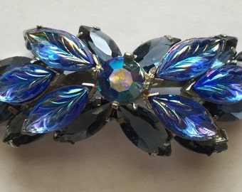 Vintage Blue and Aurora Borealis Leaf Rhinestone Pin Brooch D&E