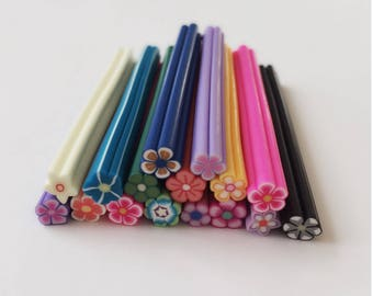 Fimo Cane Mixed Polymer Flower / Various Colors & Styles / Kawaii Canes / Uncut Fimo Canes / Nail Art / 55 mm / Choose Color / CR3