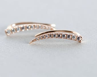 14k Rose Gold Plated Ear Climbers, Dainty Earrings, Rose and Choc, Minimalist Earrings, Gift for Her