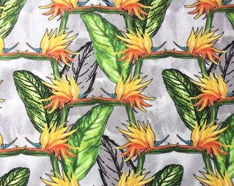 Bird of Paradise Flower Fabric Velvet, bold patterned colourful textile design ideal for cushion, curtains, watercolour floral illustration