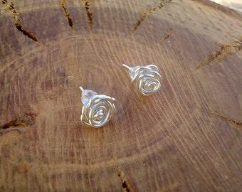 Silver Rose Earrings, Rose Earrings, Wire Wrapped Rose Earrings, Tarnish Resistant Earrings, Silver Plated Earrings
