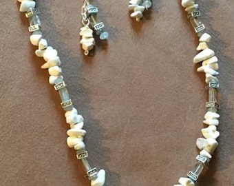 Handmade Genuine White Magnesite Aquamarine Crystal gemstone beaded Necklace & Earring Jewelry Set