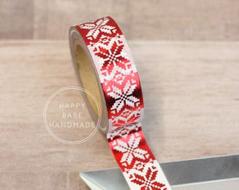 "Christmas Washi Tape, 9/16"", 10 Yds, Holiday Washi Tape, Red Foil Washi, Decorative Tape, Sweater Washi Tape, Christmas Tape, Red Washi Tape"