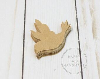 "Kraft Paper Bird, 25 Paper Birds, Paper Dove, 2"" x 2.5"", Dove Die Cut, Paper Doves, Hand Punched, Brown Paper Bird, Cut Out Birds"