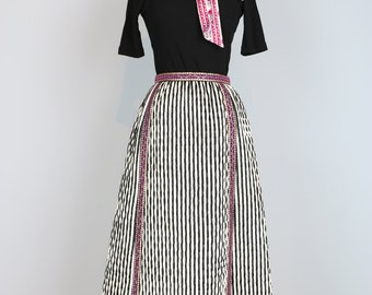 "1960s Maxi Skirt - Vintage Striped Quilted Full A-line Maxi Midi Skirt - XS 25"" Waist - Magenta Trim - Black White Stripes - Quirky Boho"