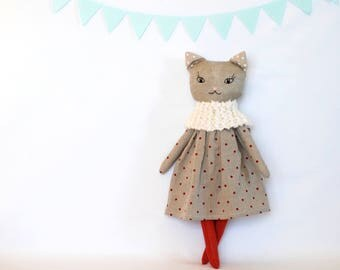 Linen cat rag doll, stuffed animal toy, linen fabric kitty, doll in homemade, soft toy, heirloom doll, cat lover, linen toys, Christmas doll