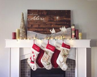 Christmas Sign - Nativity Sign - Christmas Decor - Christmas Decoration - Holiday Decor - ...