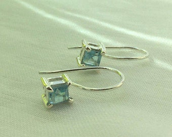 Sparkling Square Petite Blue Topaz Gemstone Silver Earrings