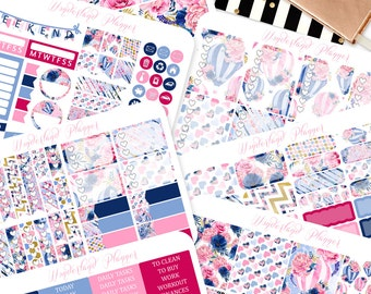 Slowly Drifting - Floral Hot Air Balloon Themed Planner Sticker Kit // 180+ Stickers // Perfect for Erin Condren Vertical Life Planner