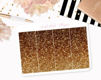 Ombre Glitter Header Planner Stickers - Bronze Brown & Gold // Perfect for Erin Condren Vertical Life Planner