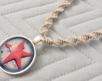 Glass Starfish Pendant Hemp Necklace
