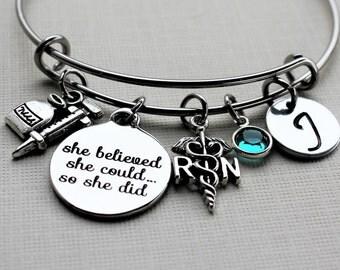 nurse bracelet, personalized nurse bracelet, nurse jewelry, nurse gift, nurse charm bracelet, nurse bangle, personalized nurse gift, nurse