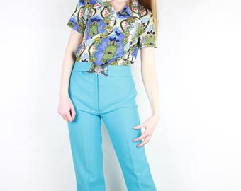 French vintage 60's blue green print blouse, 1960s 70's Jersey Button Up Shirt Hippie Floral Baroque Psychedelic short sleeve Top / Size S M