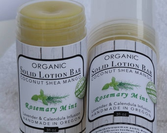 Organic Lotion Bar | Rosemary Mint Solid Lotion Stick | Twist Up Tube Lotion  | Butter Stick Lotion