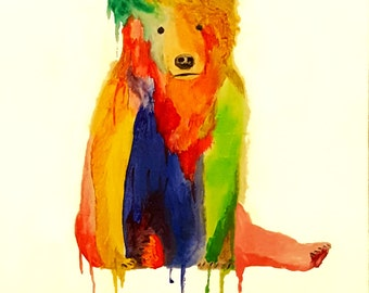 Bear Painting Colorful Animal Painting Watercolor & Acrylic