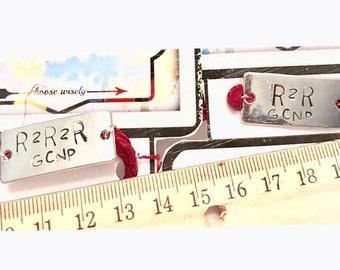 Hand Stamped Metal Charm, R2R2R, R2R
