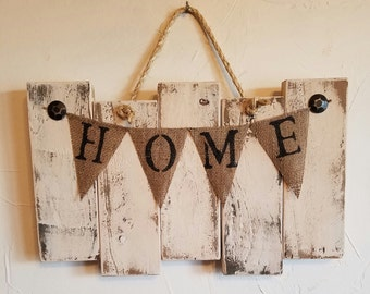 """Rustic, hand painted """"Home"""" wall hanging with burlap flags"""