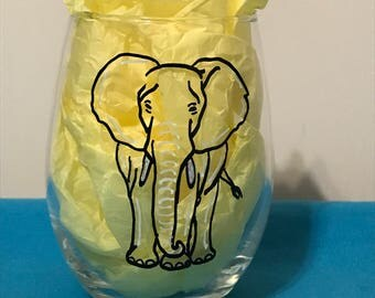 Hand painted elephant (black with white accents) stemless wine glass.