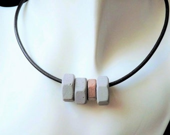 Concrete chain / necklace, industrial-scale * - metallic - colour choice - gift -.